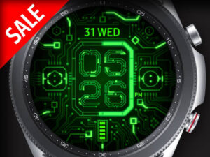 X9 Green Circuit – Galaxy Watch Face